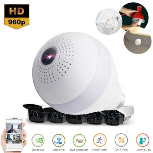 Bulb Light 360° Panoramic Day & Night WiFi P2p Cctv Camera