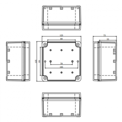 ABS IP67 Waterproof Durable Outdoor Junction Box - 75*125*125mm