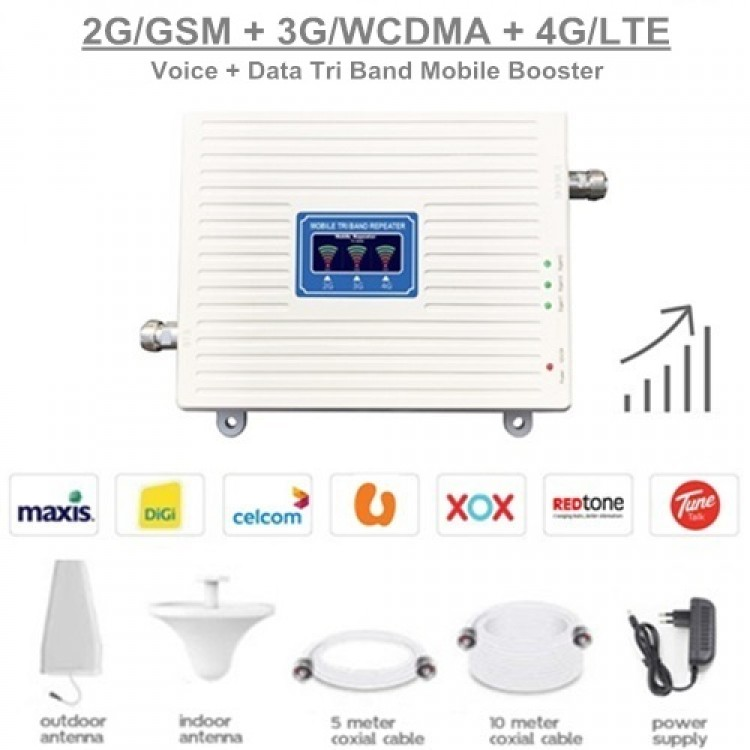 2G/GSM 3G/WCDMA 4G/LTE TRI Band Mobile Signal Booster Repeater