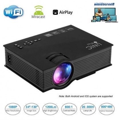 UNIC UC68 Home & Office WiFi LED Projector - 1200 Lumens