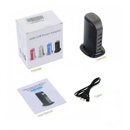5 Port USB Desktop Charging Station WiFi Spy Hidden Pinhole Camera