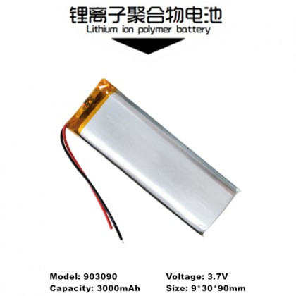 903090 3.7V 3000mAh Rechargeable Lithium Polymer Battery
