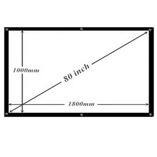 80'' Inch 16:9 White Projector Screen