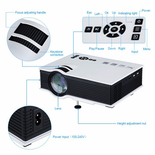 UNIC UC40+ Home & Office LED Projector - 800 Lumens