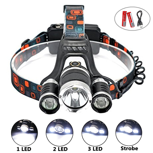 CREE 3*T6 5000 lumens LED Rechargeable Headlamp