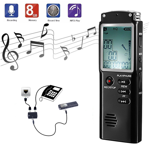 8 Hour Multifunction Professional 8GB Digital Voice Recorder