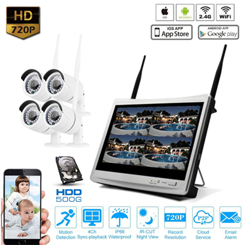 "IpPro 4CH 12"" LCD WIFI Security Wireless Camera CCTV NVR System"