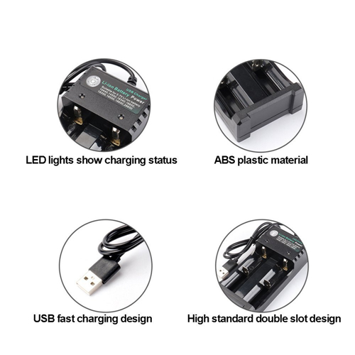 Universal Dual Slot 10440/14500/16340/16650/18350/18500/18650/26650 USB Battery Charger