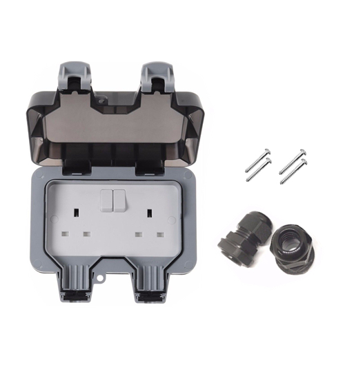 IP66 Weatherproof Outdoor 13A 2 Gang Electrical Socket