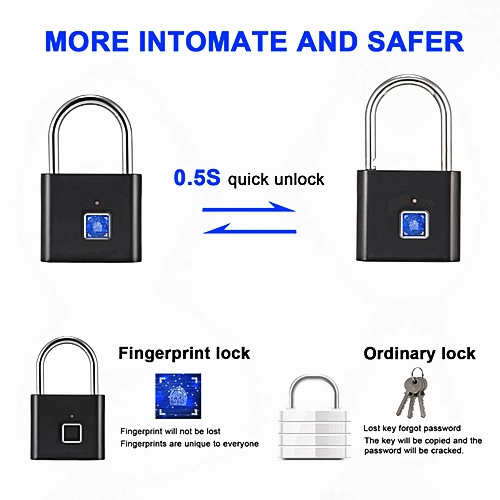 HK408 Rechargeable IP66 Waterproof Keyless Fingerprint Padlock