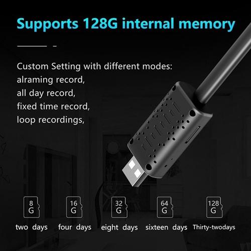 U21 USB Powered WiFi Spy Hidden Pinhole Camera